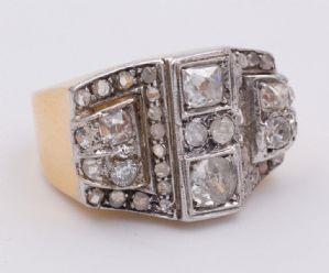 Bague en or et argent avec rosettes vintage diamant Art déco