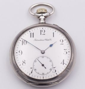 IWC pocket watch in late 19th century silver