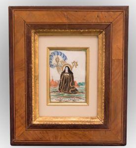 S. Chiara incisione su pergamena colorata a mano in antico con lumeggiature in oro. Produzione fiamminga ( Anversa )