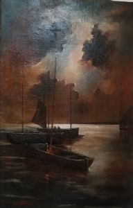 Oil painting on canvas depicting boats