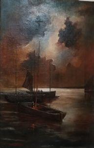 Dipinto olio su tela raffigurante barche