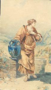 Acquarello su carta siglato A.R Figura di donna con brocca in mano