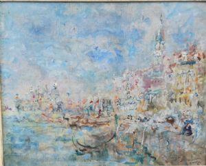 Luigi Mantovani  Milano 1880 -1957 Veduta del palazzo ducale di Venezia