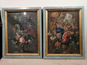 Coppia di nature morte con fiori primi del XVIII secolo - Toscana tempera su cartone - Cornici antiche
