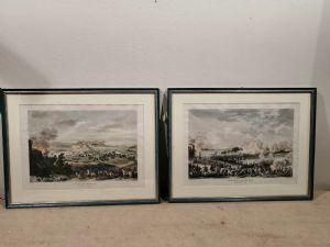 Duas gravuras napoleônicas do século XIX aquareladas pelos desenhos de Carle Vernet