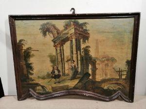 Capriccio del '700 en madera con figuras caricaturizadas y marco en forma