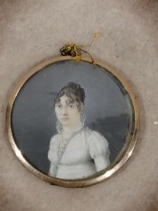Miniature on ivory '800 portrait of a woman