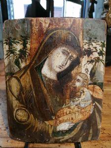 Tablilla veneciano-cretense del siglo XVI - Virgen con el niño