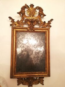 Specchiera dorata a foglia . Bologna Sec XVIII