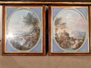 Due paesaggi dell '800 tempere su cartoncino applicato su tavola - Veneto