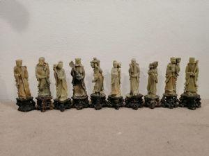 Коллекция из 10 китайских статуэток из мыльного камня конца 19 века - скульптуры мудрецов
