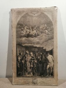 """Radierung von 1773 von D. Cunego """"Die Madonna mit Kind und den Heiligen"""" von Tizian vom Tisch genommen, gestiftet von Clemens XIV. An die Stadt Rom"""