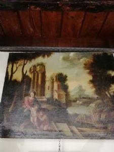 Madonna mit Kind. San Giovannino und San Giuseppe - Landschaft mit Ruinen - '600