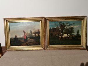 Pareja de cuadros emilianos del siglo XIX - Paisajes con figuras y animales