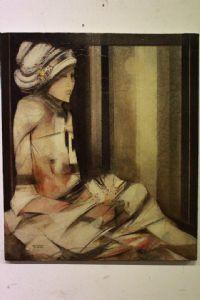 Dipinto quadro olio su tela Franco Brescianini anni '90 firmato 60 x 70 painting