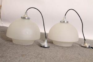 :  Coppia di lampade anni 70. Design Modernariato acciaio e vetro restaurate !vintage