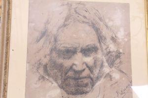 Antico dipinto fine 800  ritratto a china Roma firmato A. Fernandez raffigurante volto ! Antiquariato da eredità