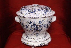 Vaso con alzata in porcellana firmato porcelain vase signed '900 old antique