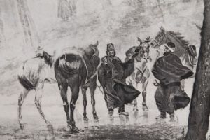 """:  Antica stampa raffigurante soldati a Cavallo . """"L ' attacco"""". Italia epoca 800 in cornice  !"""