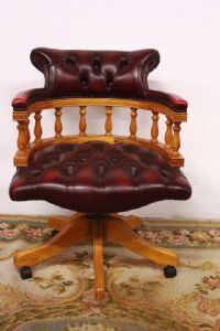 Captain Chester / Chesterfield armchair chair in original English bordeaux leather