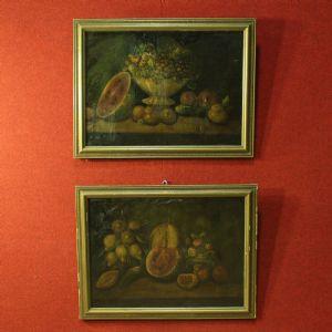Coppia di nature morte spagnole con fiori e frutta del XX secolo