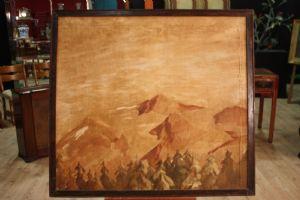 Dipinto spagnolo raffigurante paesaggio di montagna del XIX secolo