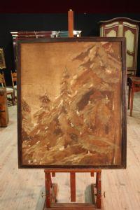 Dipinto spagnolo raffigurante paesaggio montano del XIX secolo