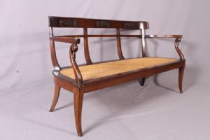 Bench Louis XVI sofa Lombardy 3 straw Vienna fine 700! Carved back Antique Antiques