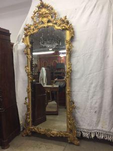 Золотое зеркало в стиле Людовика XV, большая подвеска h255x120