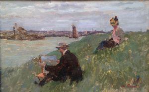 """""""The artiste en plein air"""" signed Albert Pinot (1875-1962)"""