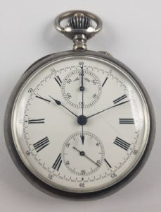 Chronograph pocket watch in silver, fine 800