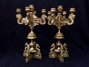 Coppia di candelabri in bronzo, XIX secolo