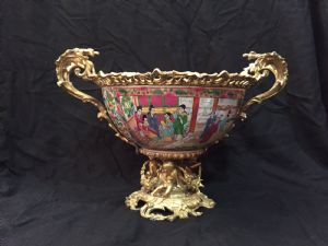 Chinese Porcelain Bowl with Gilded Bronze, 19th Century