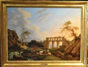 Pair of paintings depicting rural landscapes animated, author Pietro Ronzoni first half of the 800 in first canvas cm. 70 x 50 more frames