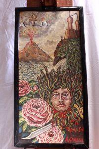 """Cuadro pintado al óleo sobre panel de """"medusa"""" aceite de pintura mitológica del siglo XX en el panel"""