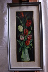 Crocheted picture representing a vase of flowers with frame and glass 18 x 49