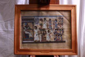 5 quadri / dipinti tecnica mista con cornice vetro soggetto stile antichi egizi
