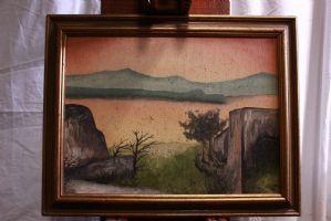 Bild gemalt Öl auf Leinwand Landschaft Sonnenuntergang XX Jahrhundert Öl auf Leinwand Gemälde