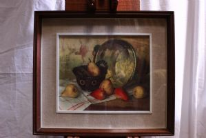 Print with frame and glass depicting still life with fruit print 20th century