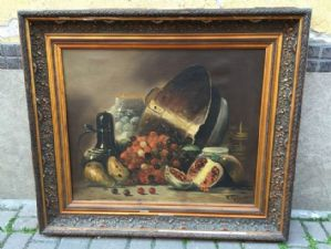 painting still life signed with frame