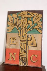 Antique rare Fascist poster from 1926 painted on silk !! size 128 x 86