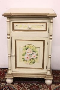 Mobile wooden bedside table hand painted handmade furniture
