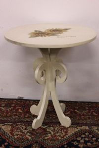 Round table in ivory wood with hand-painted floral table-handmade decorations