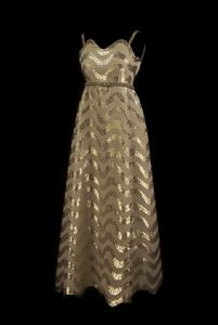 60s dress in silver and gold lame