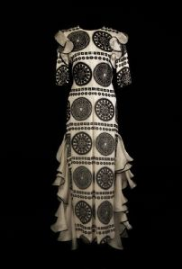 Silk dress with black and white geometric patterns