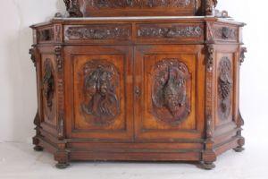 Flat plate credenza Napoli scantonata Neorinascimentale - Liberty XIX sec. Antique finely carved showcase. Antiques