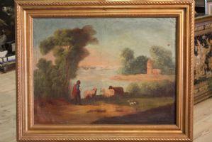Interessante dipinto olio su tela dell'800