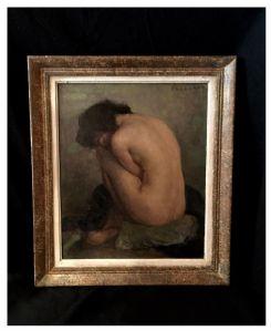 Nudo femminile firmato Fougerat, olio su pannello, XX° secolo