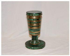 Malachite and Brass Glass, 20th Century