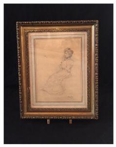 """Desenho assinado """"Boldini"""", Giovanni Boldini (1842-1931), século XIX"""